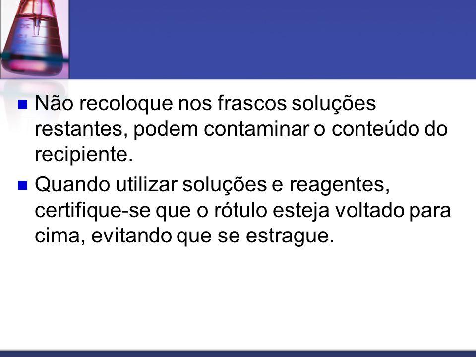 Não recoloque nos frascos soluções restantes, podem contaminar o conteúdo do recipiente.