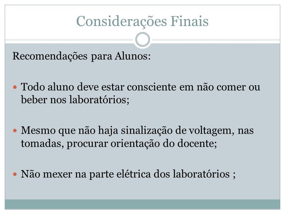 Considerações Finais Recomendações para Alunos: