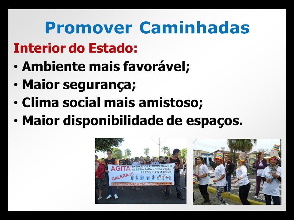 Promover Caminhadas Interior do Estado: Ambiente mais favorável;