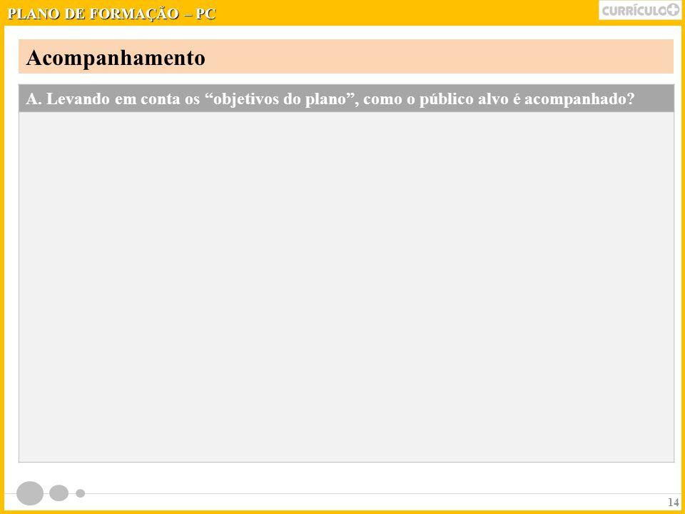 PLANO DE FORMAÇÃO – PC Acompanhamento. A.