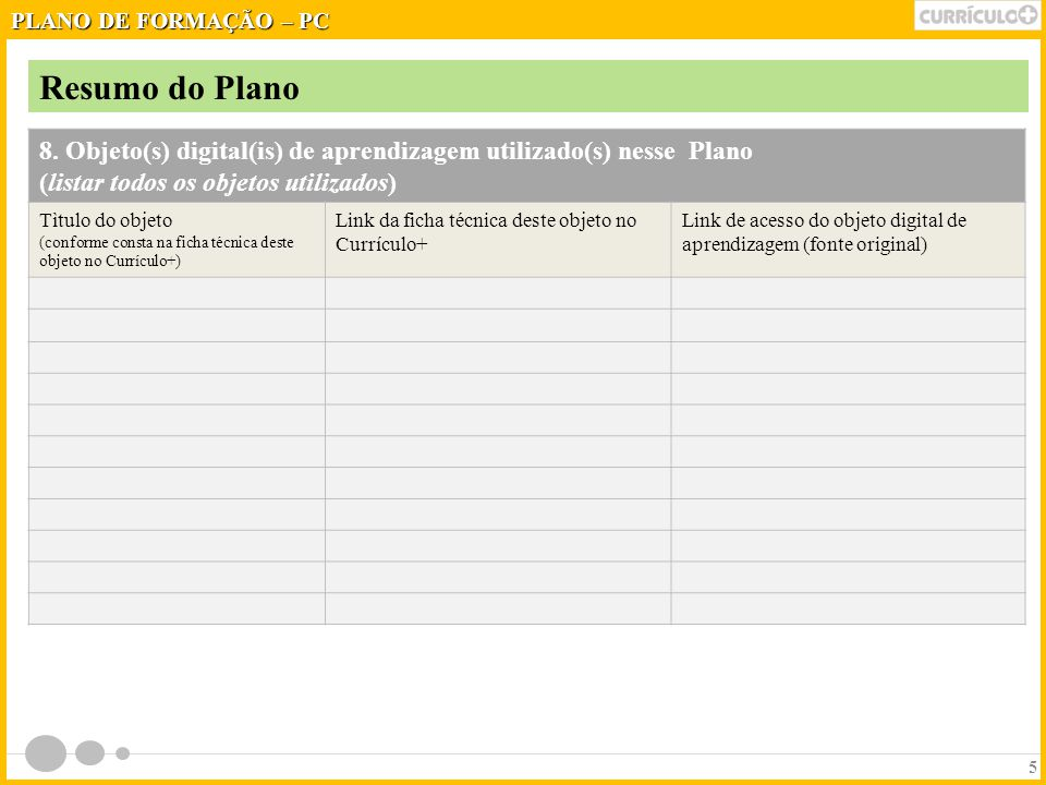 PLANO DE FORMAÇÃO – PC Resumo do Plano. 8. Objeto(s) digital(is) de aprendizagem utilizado(s) nesse Plano.