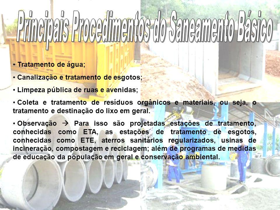 Principais Procedimentos do Saneamento Básico