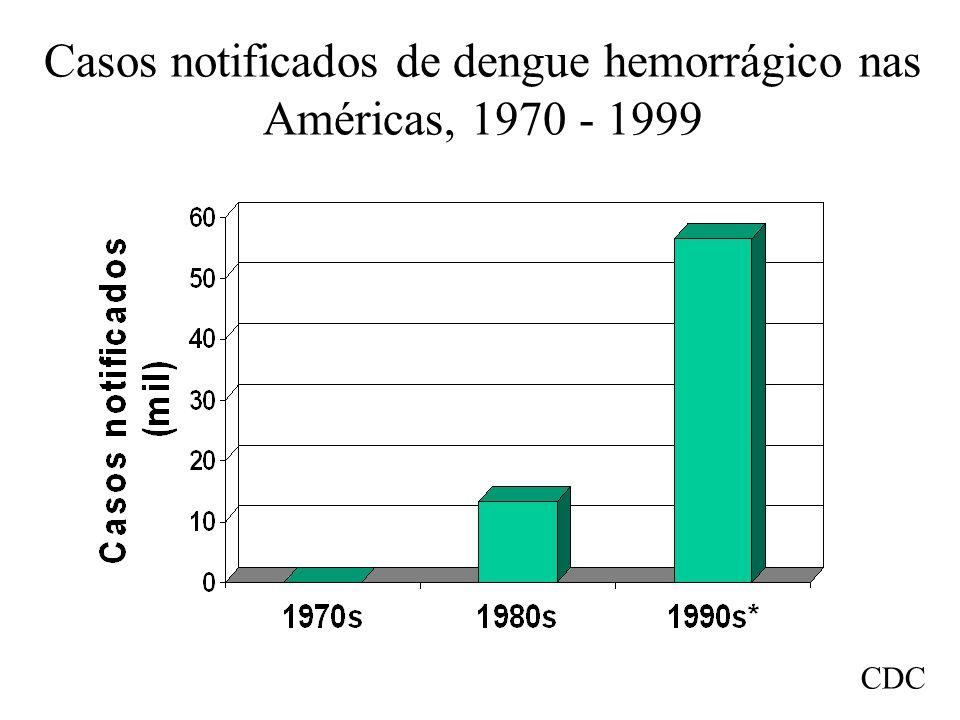 Casos notificados de dengue hemorrágico nas Américas, 1970 - 1999
