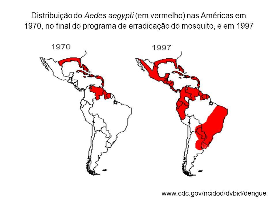 Distribuição do Aedes aegypti (em vermelho) nas Américas em 1970, no final do programa de erradicação do mosquito, e em 1997
