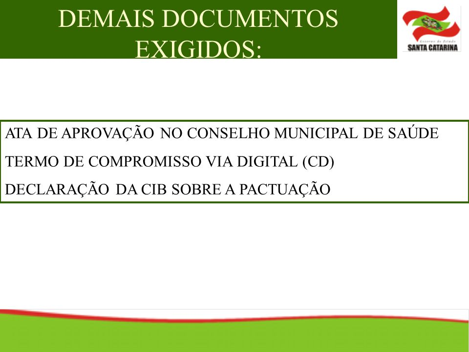 DEMAIS DOCUMENTOS EXIGIDOS: