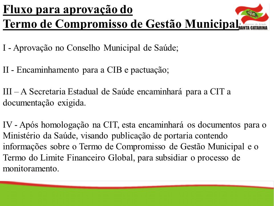 Fluxo para aprovação do Termo de Compromisso de Gestão Municipal: