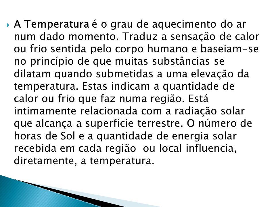 A Temperatura é o grau de aquecimento do ar num dado momento