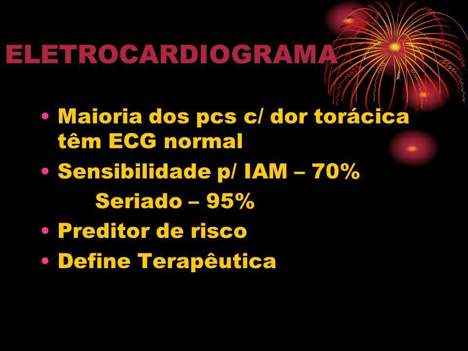 ELETROCARDIOGRAMA Maioria dos pcs c/ dor torácica têm ECG normal
