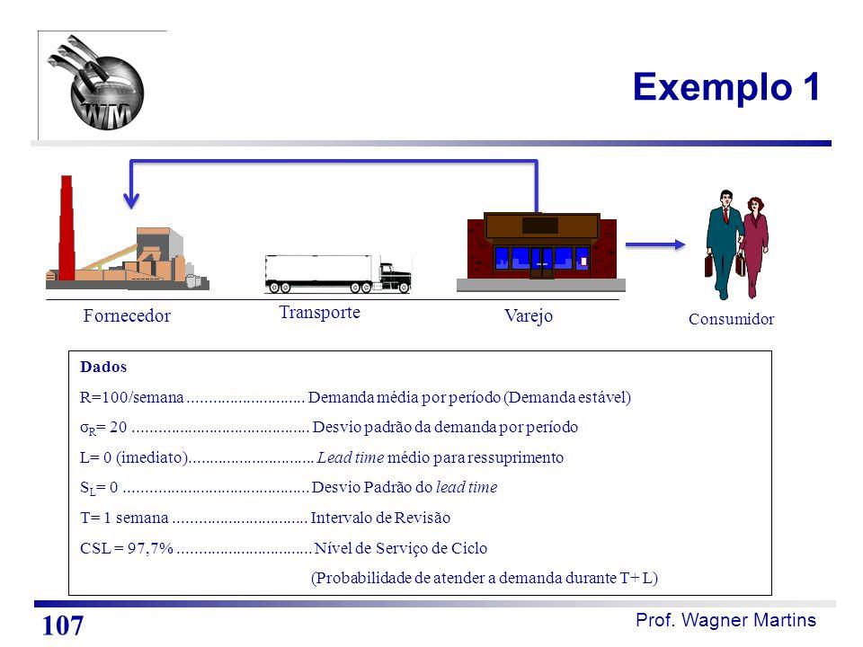 Exemplo 1 107 Fornecedor Transporte Varejo Consumidor Dados