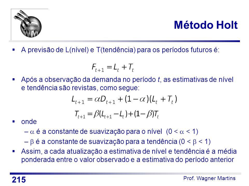 Método Holt A previsão de L(nível) e T(tendência) para os períodos futuros é: