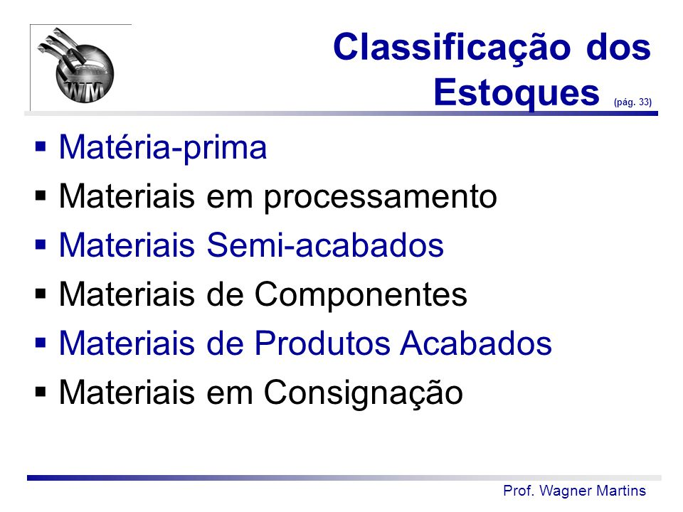 Classificação dos Estoques (pág. 33)