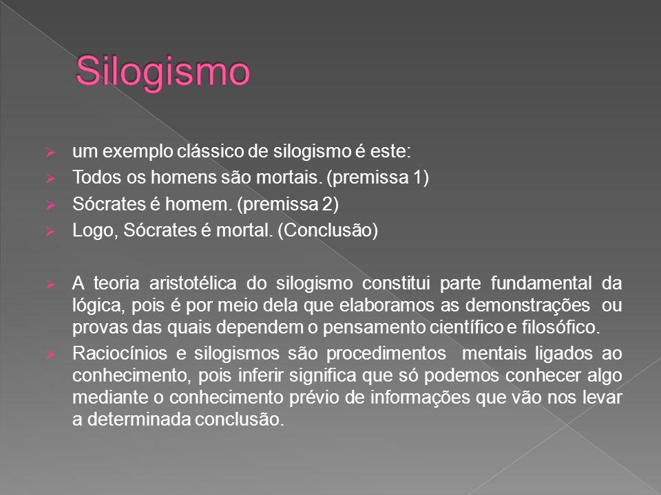 Silogismo um exemplo clássico de silogismo é este: