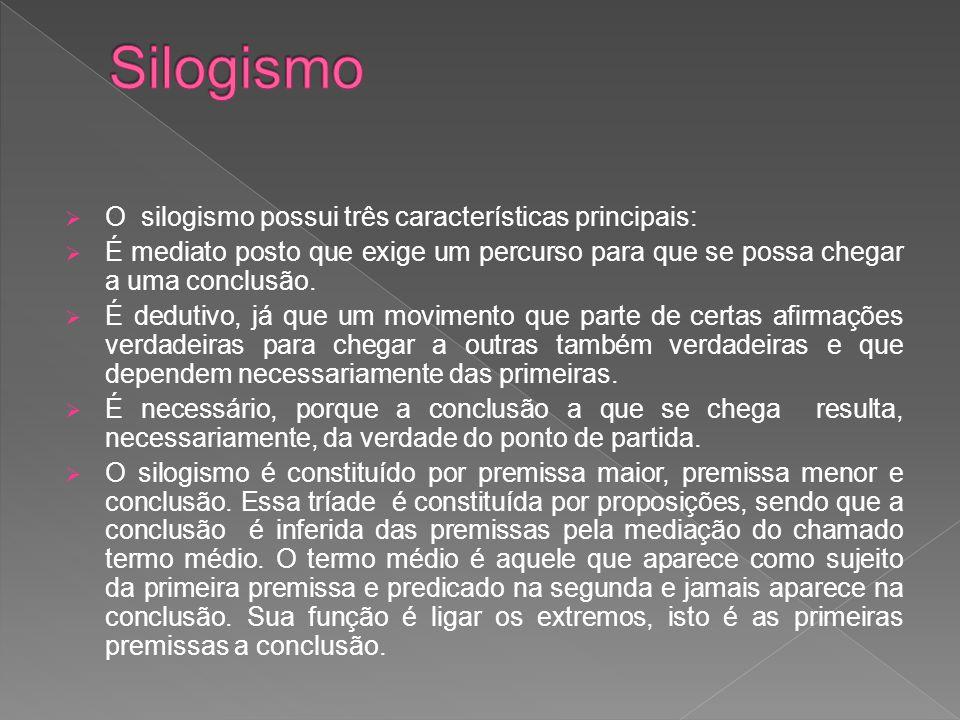 Silogismo O silogismo possui três características principais: