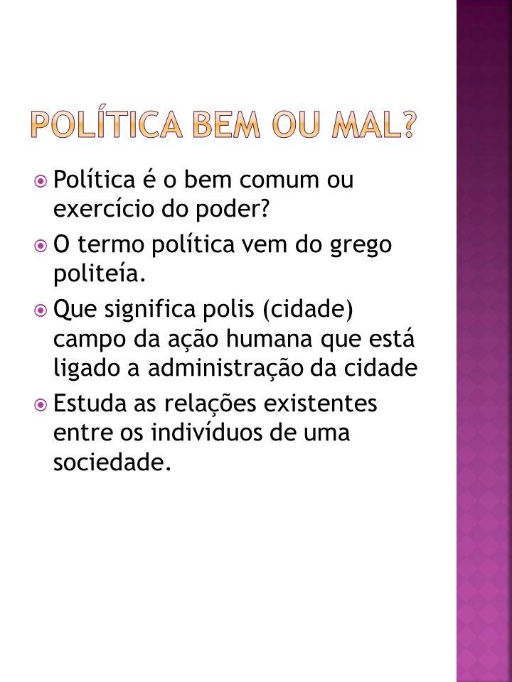 Política bem ou mal Política é o bem comum ou exercício do poder