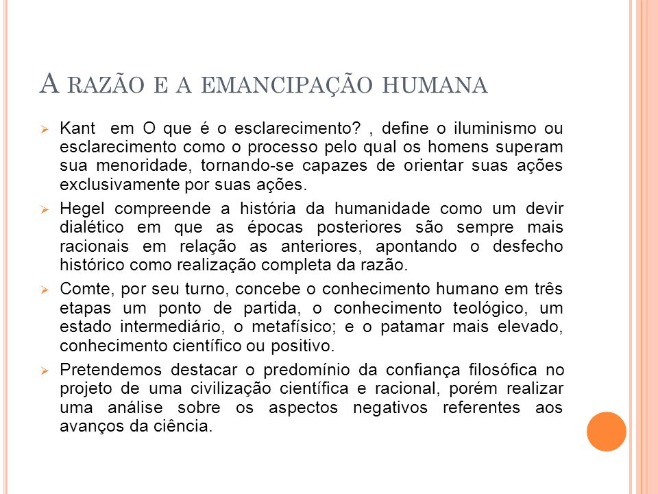 A razão e a emancipação humana