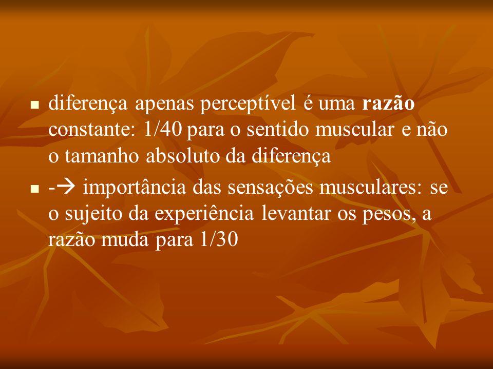 diferença apenas perceptível é uma razão constante: 1/40 para o sentido muscular e não o tamanho absoluto da diferença