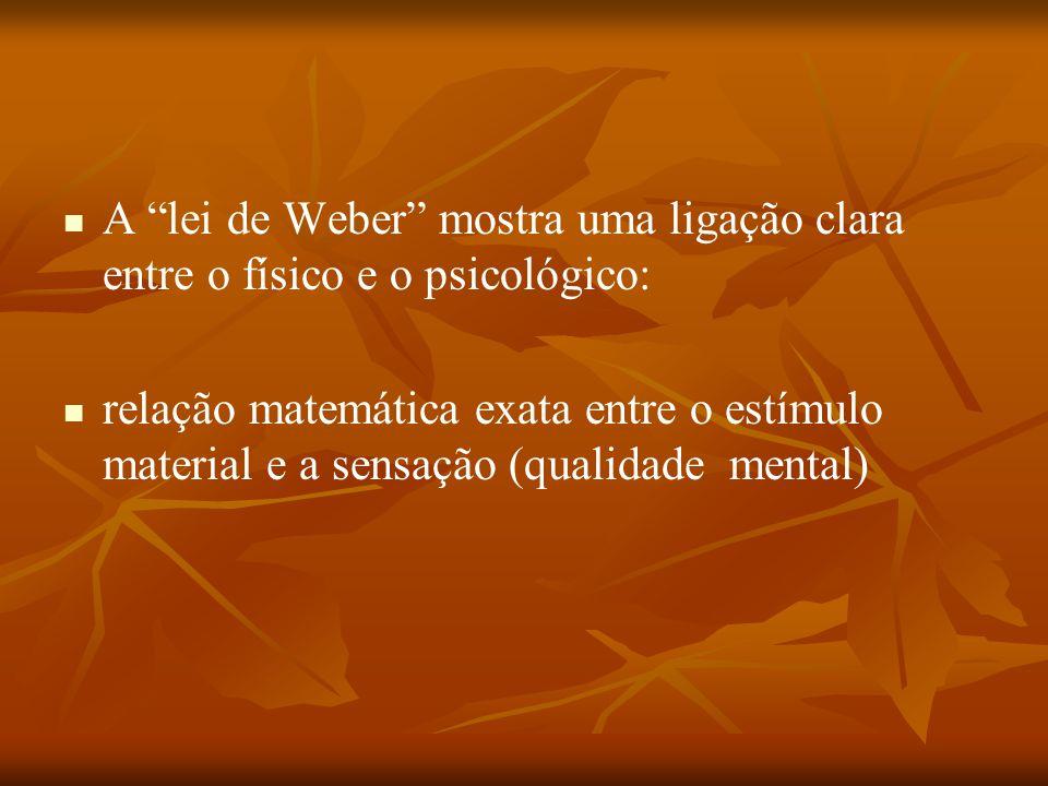 A lei de Weber mostra uma ligação clara entre o físico e o psicológico: