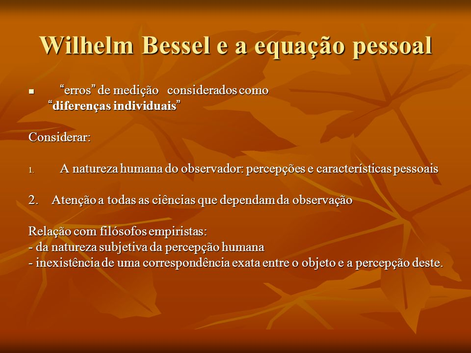 Wilhelm Bessel e a equação pessoal