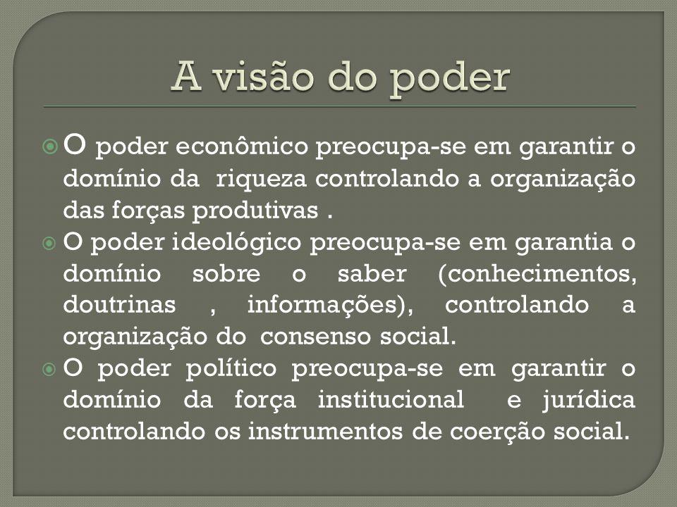 A visão do poder O poder econômico preocupa-se em garantir o domínio da riqueza controlando a organização das forças produtivas .