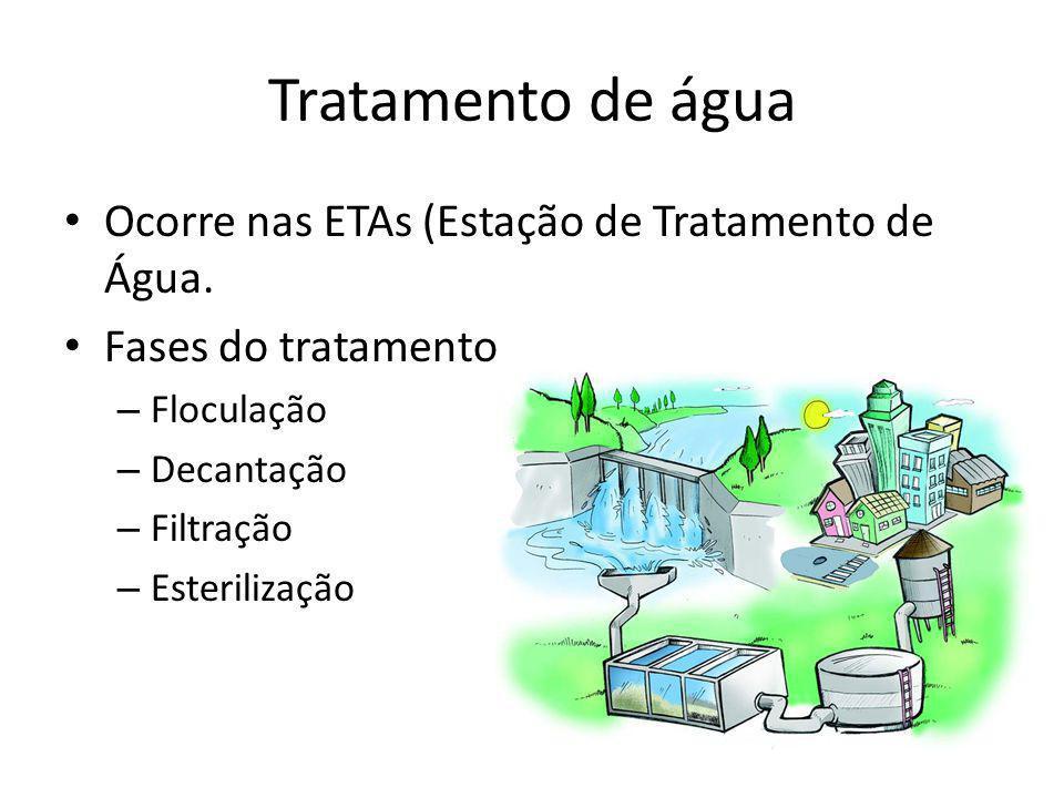 Tratamento de água Ocorre nas ETAs (Estação de Tratamento de Água.