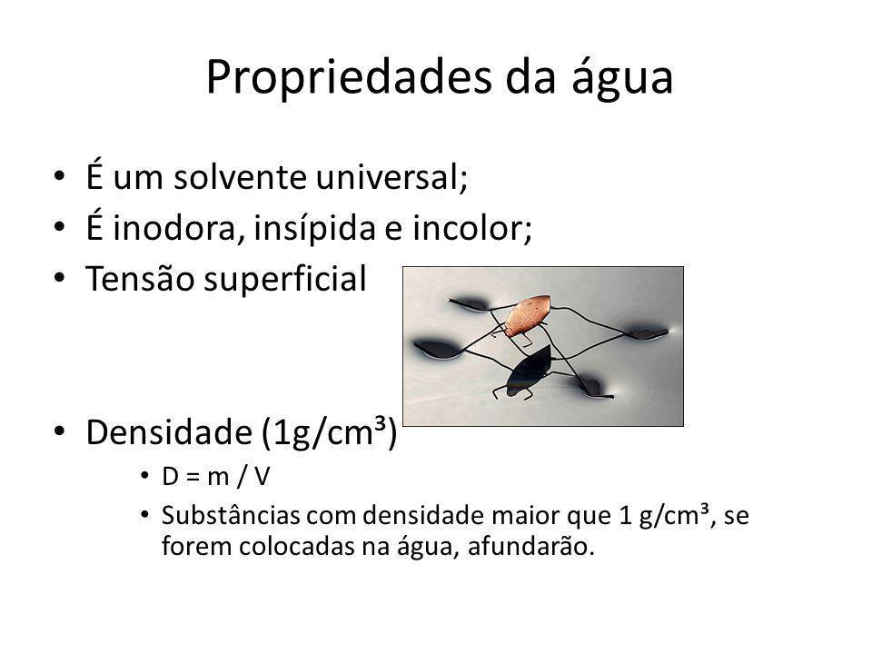 Propriedades da água É um solvente universal;