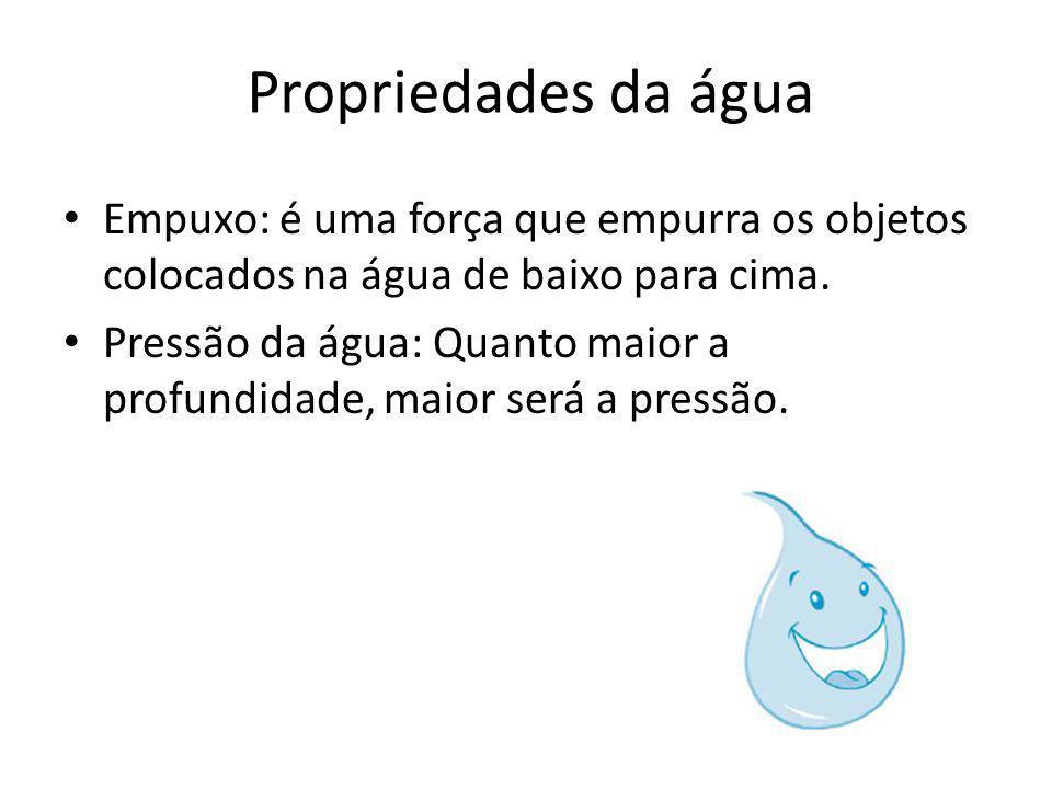 Propriedades da água Empuxo: é uma força que empurra os objetos colocados na água de baixo para cima.