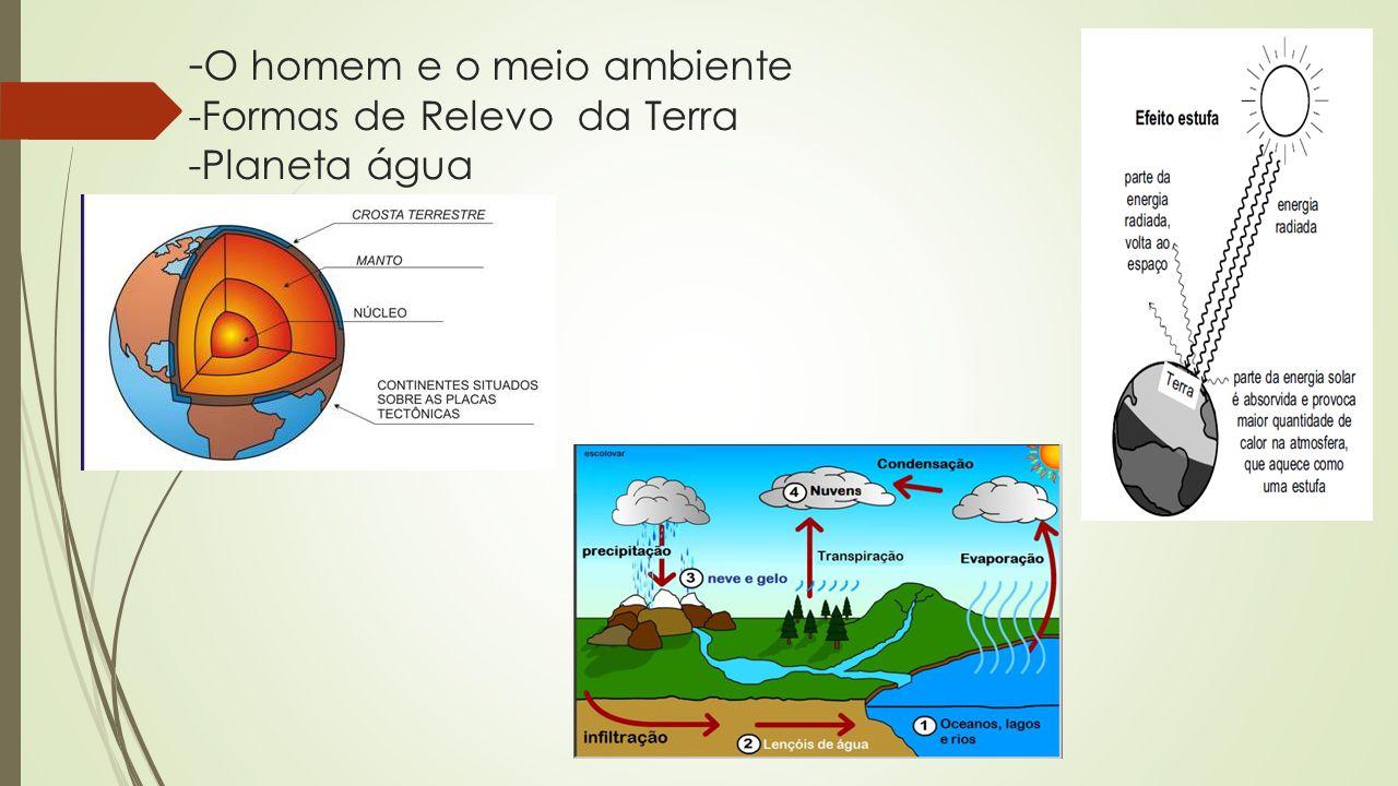 -O homem e o meio ambiente -Formas de Relevo da Terra -Planeta água