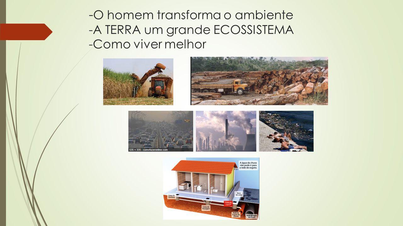 -O homem transforma o ambiente -A TERRA um grande ECOSSISTEMA -Como viver melhor