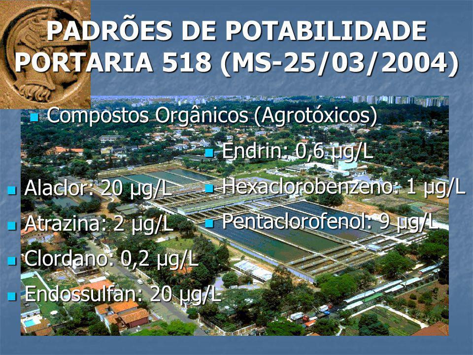 PADRÕES DE POTABILIDADE PORTARIA 518 (MS-25/03/2004)