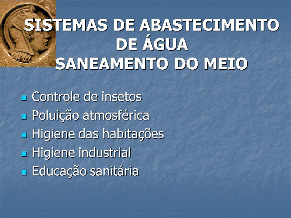 SISTEMAS DE ABASTECIMENTO DE ÁGUA SANEAMENTO DO MEIO
