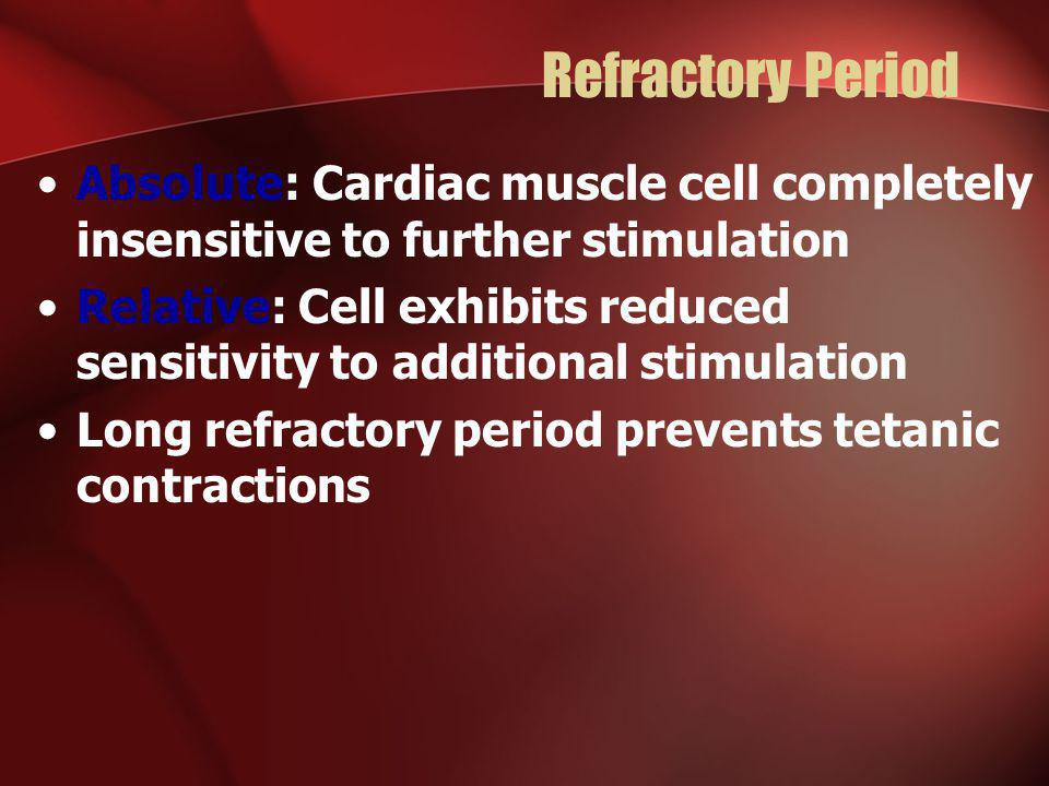 Refractory Period Absolute: Cardiac muscle cell completely insensitive to further stimulation.
