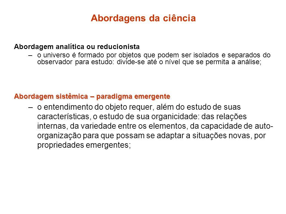Abordagens da ciência Abordagem analítica ou reducionista.