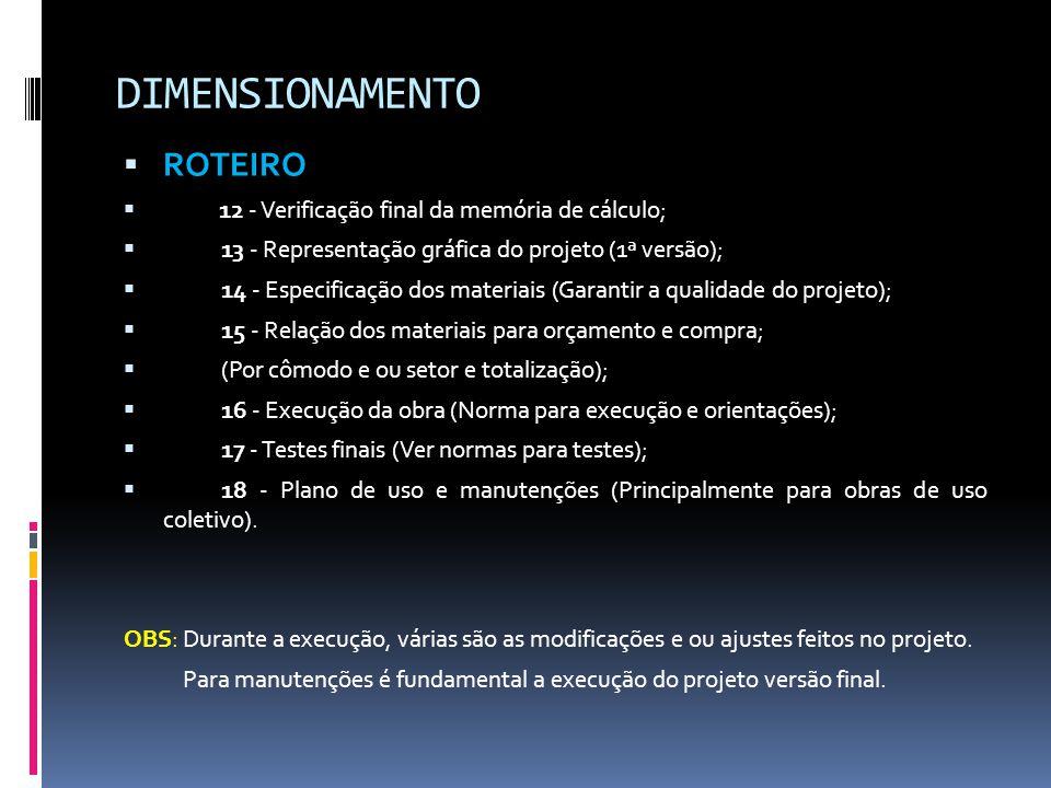 DIMENSIONAMENTO ROTEIRO 12 - Verificação final da memória de cálculo;