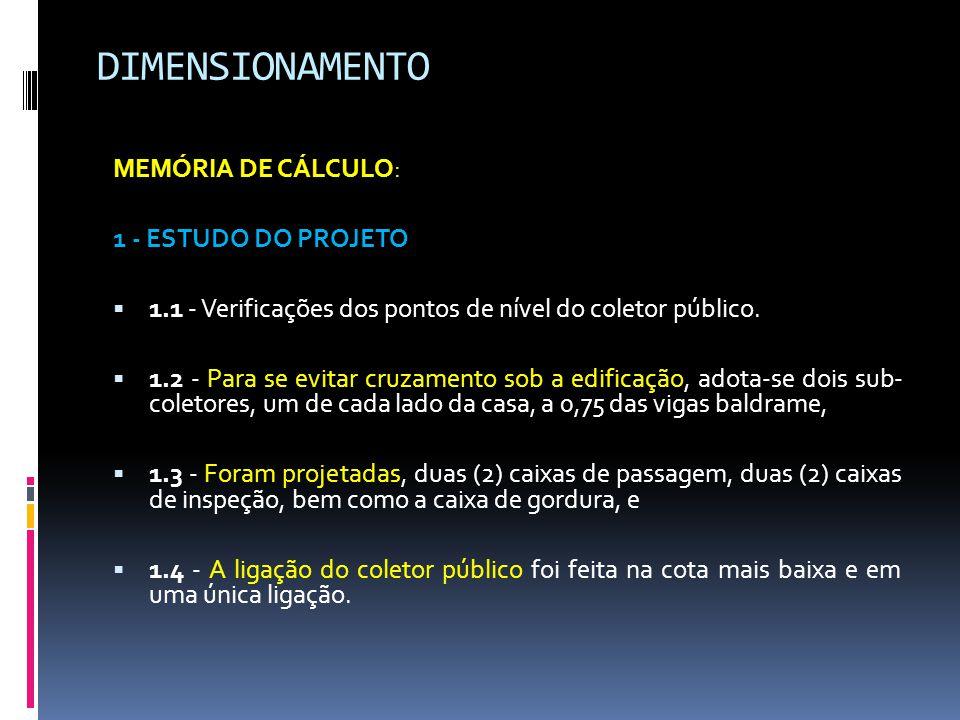 DIMENSIONAMENTO MEMÓRIA DE CÁLCULO: 1 - ESTUDO DO PROJETO
