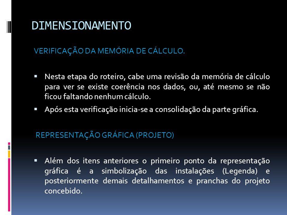 DIMENSIONAMENTO VERIFICAÇÃO DA MEMÓRIA DE CÁLCULO.