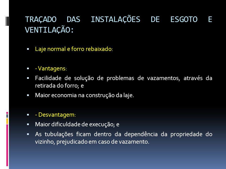 TRAÇADO DAS INSTALAÇÕES DE ESGOTO E VENTILAÇÃO: