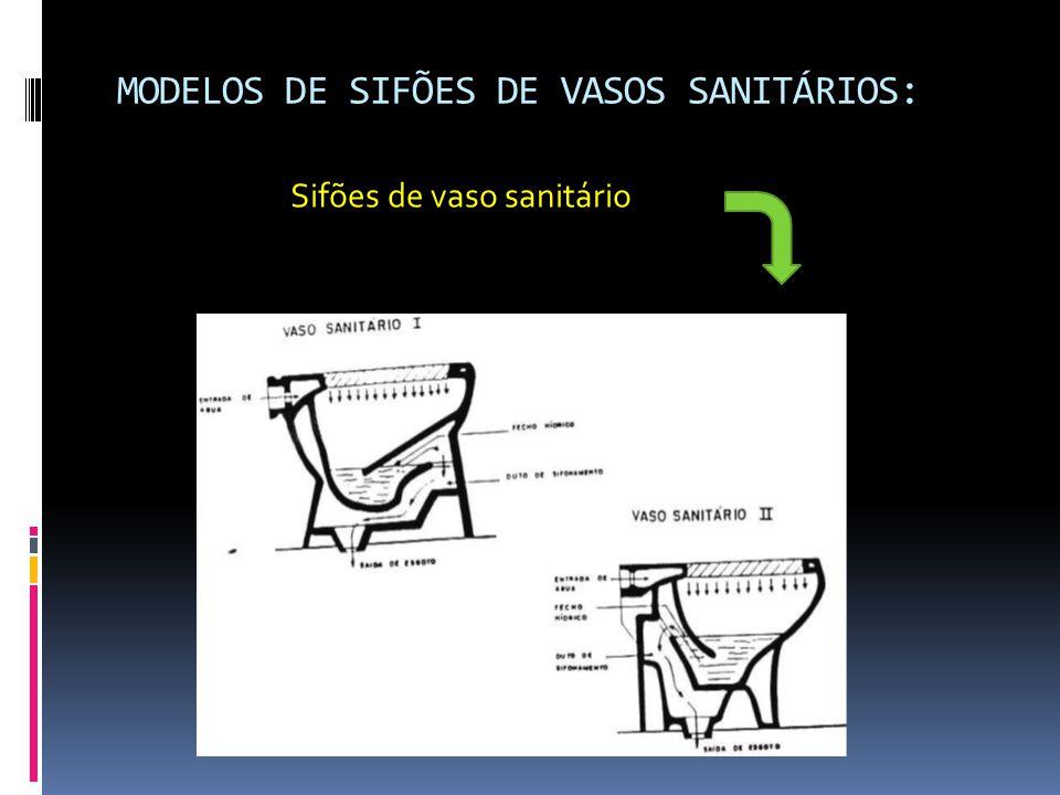 MODELOS DE SIFÕES DE VASOS SANITÁRIOS: