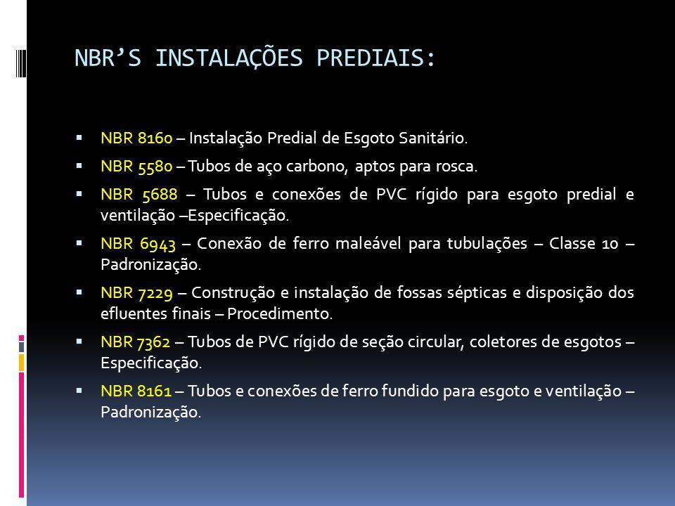 NBR'S INSTALAÇÕES PREDIAIS: