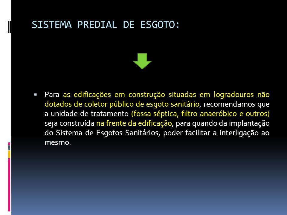 SISTEMA PREDIAL DE ESGOTO: