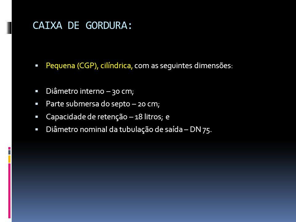 CAIXA DE GORDURA: Pequena (CGP), cilíndrica, com as seguintes dimensões: Diâmetro interno – 30 cm;
