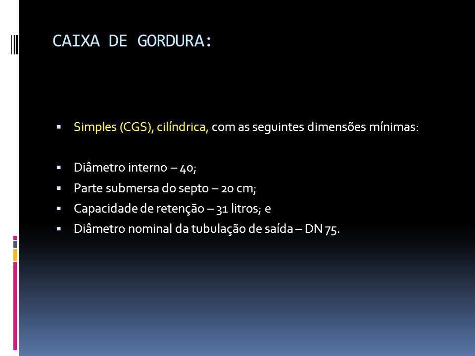 CAIXA DE GORDURA: Simples (CGS), cilíndrica, com as seguintes dimensões mínimas: Diâmetro interno – 40;