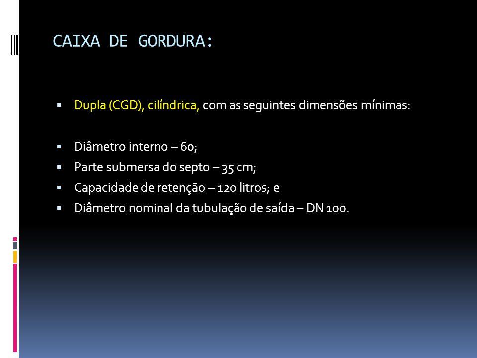 CAIXA DE GORDURA: Dupla (CGD), cilíndrica, com as seguintes dimensões mínimas: Diâmetro interno – 60;