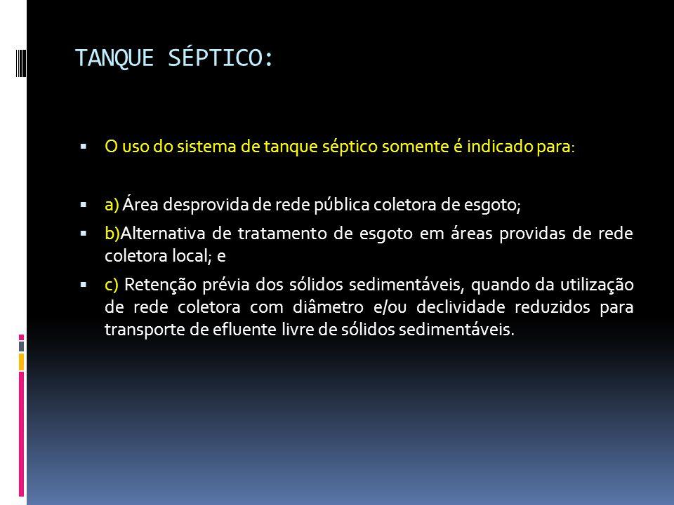 TANQUE SÉPTICO: O uso do sistema de tanque séptico somente é indicado para: a) Área desprovida de rede pública coletora de esgoto;