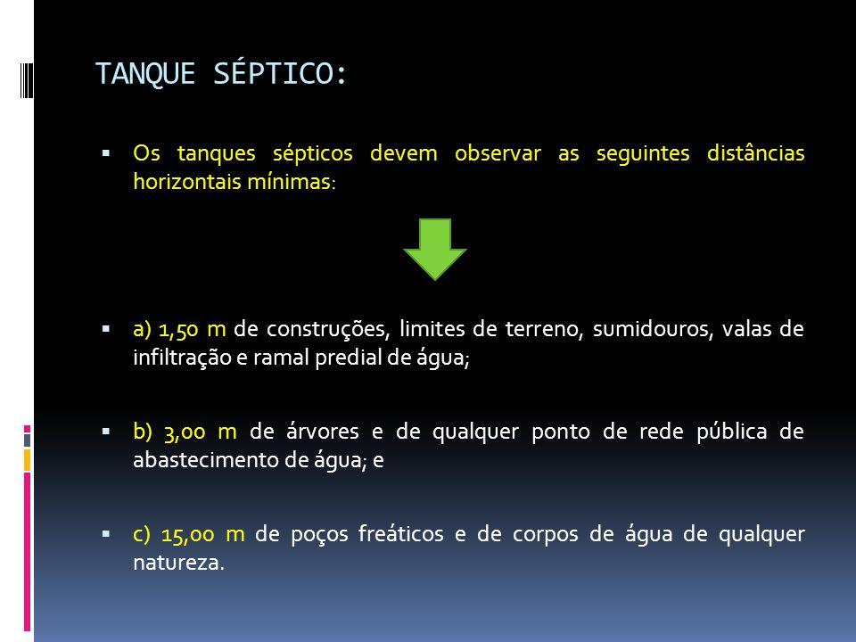 TANQUE SÉPTICO: Os tanques sépticos devem observar as seguintes distâncias horizontais mínimas: