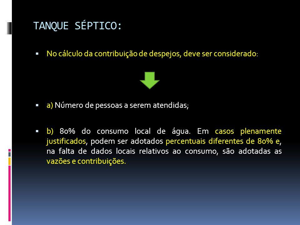 TANQUE SÉPTICO: No cálculo da contribuição de despejos, deve ser considerado: a) Número de pessoas a serem atendidas;