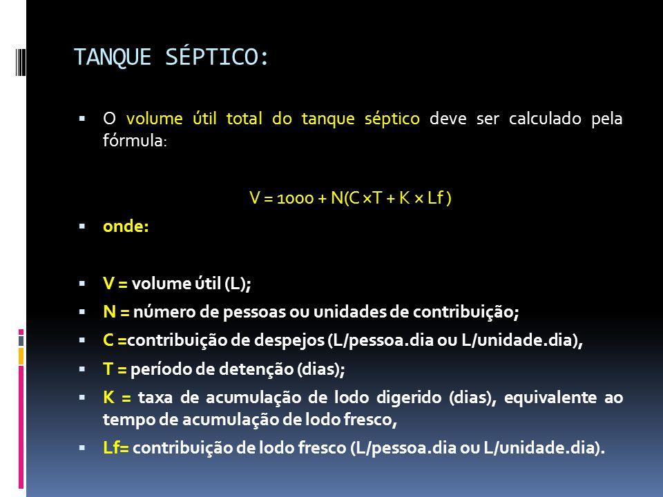 TANQUE SÉPTICO: O volume útil total do tanque séptico deve ser calculado pela fórmula: V = 1000 + N(C ×T + K × Lf )