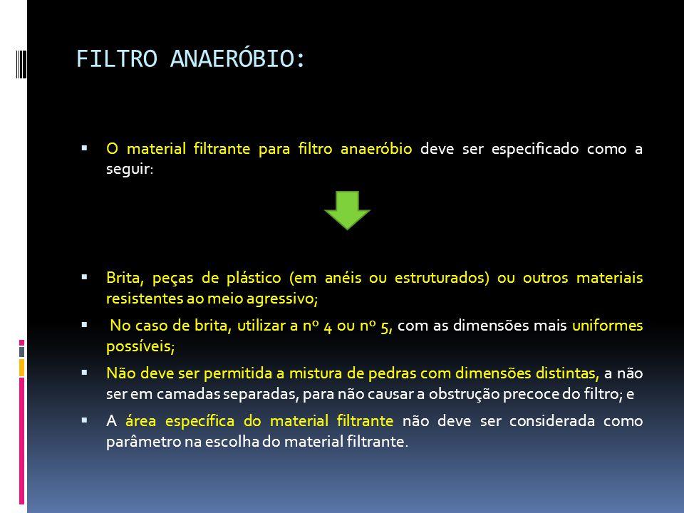 FILTRO ANAERÓBIO: O material filtrante para filtro anaeróbio deve ser especificado como a seguir: