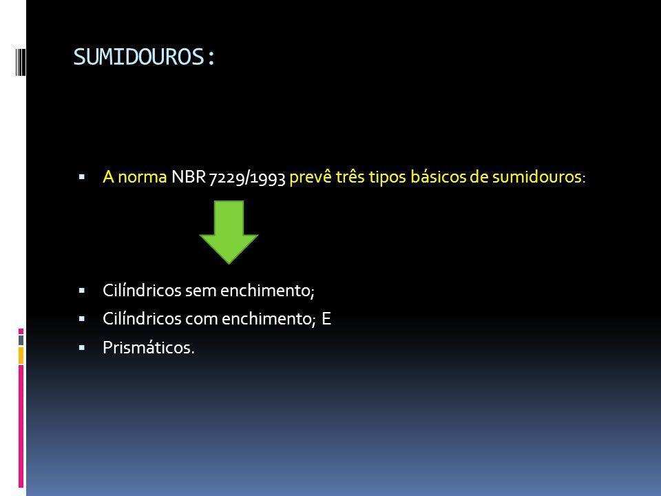 SUMIDOUROS: A norma NBR 7229/1993 prevê três tipos básicos de sumidouros: Cilíndricos sem enchimento;