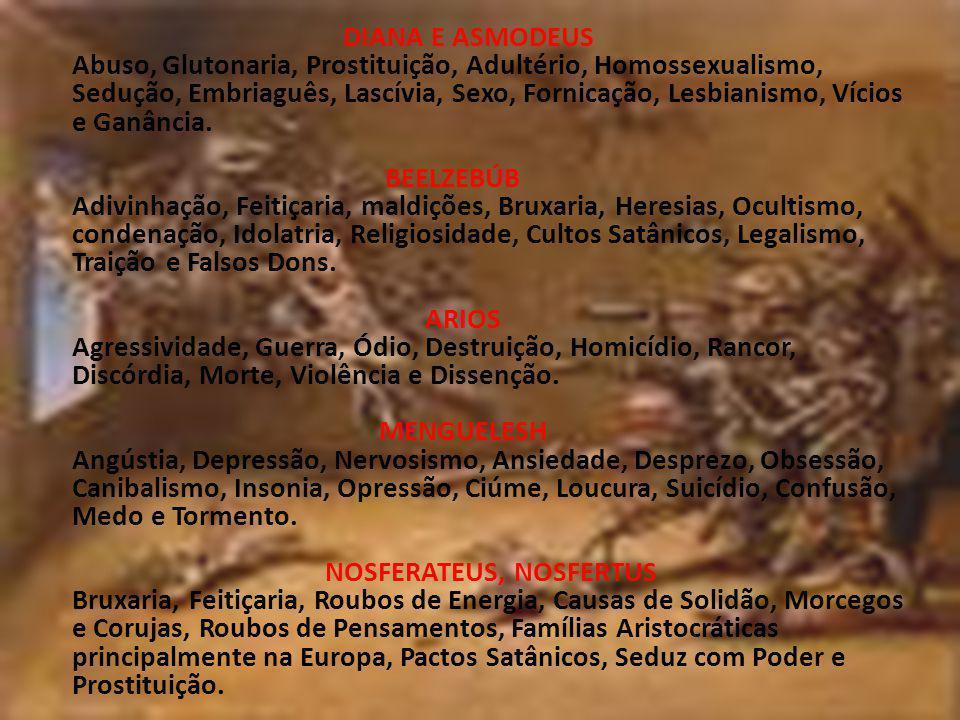 DIANA E ASMODEUS Abuso, Glutonaria, Prostituição, Adultério, Homossexualismo, Sedução, Embriaguês, Lascívia, Sexo, Fornicação, Lesbianismo, Vícios e Ganância.