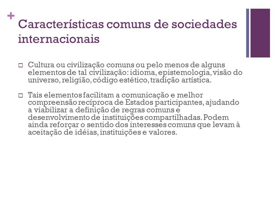 Características comuns de sociedades internacionais